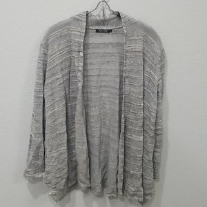 Nic + Zoe Gray Striped Metallic Cardigan Sz PL